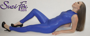 """Custom Sleeveless Catsuit by Suzi Fox shown in Royal Blue Wet Look Lycra Spandex.  You can order this Catsuit in almost any fabric on this site.  • Available in black, red, white, turquoise, navy blue, hot pink, lime green, green, yellow, royal blue, steel gray, neon orange. This is a 4-way stretch fabric with a medium shine. • Your choice of front or back zipper (front zipper shown). • Optional 1 or 2-slider crotch zipper, and """"Selene"""" from Underworld TS Brass zipper, or aluminum circular slider zipper like Catwoman comic characters. • Optional ankle zippers • Optional rear patch pockets • Made in the U.S.A."""