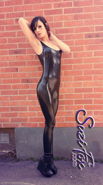 Customer photo - thank you, Hardware! Custom Tank Style Catsuit by Suzi Fox shown in Gloss Black Vinyl/PVC Spandex.  You can order this Catsuit in almost any fabric on this site.  • Available in black, red, white, navy blue, royal blue, turquoise, purple, neon pink, light pink, fuchsia, matte black (no shine), matte white (no shine). This is a 4-way stretch fabric with a high gloss shine. • Optional ankle zippers • Made in the U.S.A.