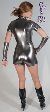 """Custom Romper Catsuit by Suzi Fox shown in Gun Metal metallic foil coated Nylon Spandex.  You can order this Romper in almost any fabric on this site.  • Available in gold, silver, copper, royal blue, purple, turquoise, red, green, fuchsia, gun metal, black faux leather/rubber Metallic foil coated spandex. • Standard sleeve length: 6 inches (15.2 cm) • Standard inseam: 2 inches (5.1 cm) • Your choice of front or back zipper (front zipper shown). • Optional 1 or 2-slider crotch zipper, and """"Selene"""" from Underworld TS Brass zipper, or aluminum circular slider zipper like Catwoman comic characters. • Optional wrist zippers. • Optional rear patch pockets. • Made in the U.S.A."""