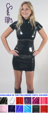 Turtleneck, Short sleeve version Mini Dress in Gloss Black Vinyl coated Nylon Spandex, custom made by Suzi Fox. Zipper in the back. Choose any fabric on this site! Available in black, white, red, navy blue, royal blue, turquoise, purple, fuchsia, neon pink, light pink, matte black (no shine), matte white (no shine) stretch vinyl/PVC coated nylon spandex. • Optional 2-slider zipper going the length of the dress, front or back, unzip from the top of the bottom! Made in the U.S.A.
