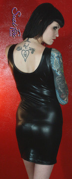 Tank Mini Dress in Black Metallic Foil Faux Leather/Rubber Spandex by Suzi Fox. Choose any fabric on this site! Available in black metallic faux leather/rubber, gold, silver, copper, royal blue, purple, turquoise, red, green, fuchsia, gun metal metallic foil coated nylon spandex. Made in the U.S.A.