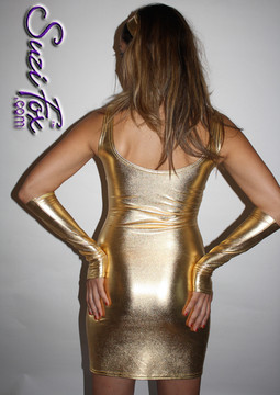 Tank Mini Dress in Gold Metallic Foil coated Spandex by Suzi Fox. Choose any fabric on this site! Available in black metallic faux leather/rubber, gold, silver, copper, royal blue, purple, turquoise, red, green, fuchsia, gun metal metallic foil coated nylon spandex. • Optional 2-slider zipper going the length of the dress, front or back, unzip from the top of the bottom! Made in the U.S.A.