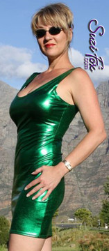 Tank Mini Dress in Green Metallic Foil coated Spandex by Suzi Fox. Choose any fabric on this site! Available in black metallic faux leather/rubber, gold, silver, copper, royal blue, purple, turquoise, red, green, fuchsia, gun metal metallic foil coated nylon spandex. • Optional 2-slider zipper going the length of the dress, front or back, unzip from the top of the bottom! Made in the U.S.A.