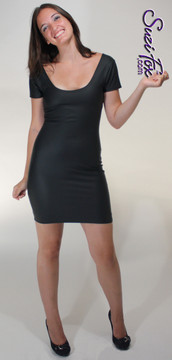 Short sleeve version: Scoop Neck, Long Sleeved Mini Dress in Black Matte (no shine) Vinyl/PVC Spandex, custom made by Suzi Fox. Choose any fabric on this site! Available in matte black (no shine), matte white (no shine); gloss black, white, red, navy blue, royal blue, turquoise, purple, fuchsia, neon pink, light pink, stretch vinyl/PVC coated nylon spandex. • Optional wrist zippers. Made in the U.S.A.