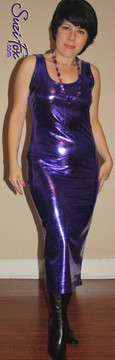 Tank Maxi Dress in Purple Metallic Foil coated Spandex by Suzi Fox. Choose any fabric on this site! Custom made to your measurements. Available in black metallic faux leather/rubber, gold, silver, copper, royal blue, purple, turquoise, red, green, fuchsia, gun metal metallic foil coated nylon spandex. Made in the U.S.A.