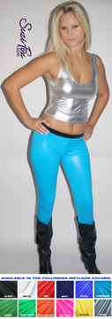 """Womens Mimi Marquez Leggings shown in Turquoise Wet Look Lycra Spandex, custom made by Suzi Fox.  Shown with optional black waistband as seen in the play """"RENT."""" You can order this in almost any fabric on this site.  • Custom made to your measurements! • Available in black white, red, navy blue, royal blue, turquoise, hot pink, lime green, green, yellow, neon orange, steel gray. lycra spandex. This is a 4-way stretch fabric with a medium shine. Very comfortable! • 1 inch elastic at the waist. • Optional 1 or 2-slider crotch zipper. • Optional ankle zippers • Optional rear patch pockets • Optional belt loops • Made in the U.S.A."""