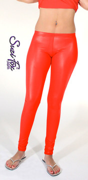 Womens Leggings shown in Red Wet Look Lycra Spandex, custom made by Suzi Fox. Shown in hiphugger rise. You can order this in almost any fabric on this site.  • Custom made to your measurements! • Available in black white, red, navy blue, royal blue, turquoise, hot pink, lime green, green, yellow, neon orange, steel gray. lycra spandex. This is a 4-way stretch fabric with a medium shine. Very comfortable! • 1 inch elastic at the waist. • Optional 1 or 2-slider crotch zipper. • Optional ankle zippers • Optional rear patch pockets • Optional belt loops • Made in the U.S.A.