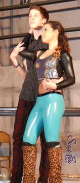Customer photo! Tamryn Cosette as Mimi Marquez in Rent - in Suzi Fox turquoise vinyl/PVC pants and shrug.