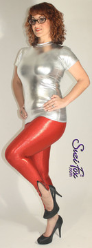 Womens Leggings shown in Red Metallic Mystique, custom made by Suzi Fox. Shown with optional ankle zippers. You can order this in almost any fabric on this site.  • Custom made to your measurements! • Available in black, red, turquoise, green, purple, royal blue, hot pink/fuchsia, silver, copper, gold Metallic Mystique spandex. This is a 4-way stretch fabric with tiny metallic foil dots bonded to the spandex. Light, thin, airy, very comfortable! • 1 inch elastic at the waist. • Optional 1 or 2-slider crotch zipper. • Optional ankle zippers • Optional rear patch pockets • Optional belt loops • Made in the U.S.A.