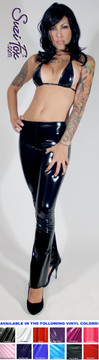 Womens Boot Cut Pants shown in Black Gloss vinyl/PVC, custom made by Suzi Fox.  You can order this in almost any fabric on this site.  • Custom made to your measurements! • Available in black, red, white, light pink, neon pink, fuchsia, purple, royal blue, navy blue, turquoise, black matte (no shine), white matte (no shine) stretch vinyl coated spandex. • 1 inch elastic at the waist. • Optional 1 or 2-slider crotch zipper. • Optional ankle zippers • Optional rear patch pockets • Optional belt loops • Made in the U.S.A.