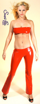 Womens Boot Cut Pants shown in Red Gloss vinyl/PVC, custom made by Suzi Fox.  Super Low rise shown. You can order this in almost any fabric on this site.  • Custom made to your measurements! • Available in black, red, white, light pink, neon pink, fuchsia, purple, royal blue, navy blue, turquoise, black matte (no shine), white matte (no shine) stretch vinyl coated spandex. • 1 inch elastic at the waist. • Optional 1 or 2-slider crotch zipper. • Optional ankle zippers • Optional rear patch pockets • Optional belt loops • Made in the U.S.A.