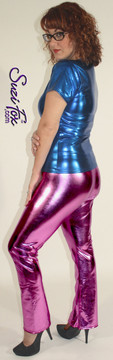 Womens Boot Cut Pants shown in Fuchsia Metallic Foil Spandex, custom made by Suzi Fox. You can order this in almost any fabric on this site.  • Custom made to your measurements! • Available in gold, silver, copper, royal blue, purple, turquoise, red, green, fuchsia, gun metal, black faux leather/rubber coated spandex. This is a 4-way stretch fabric with a brilliant shine. • 1 inch elastic at the waist. • Optional 1 or 2-slider crotch zipper. • Optional ankle zippers • Optional rear patch pockets • Optional belt loops • Made in the U.S.A.