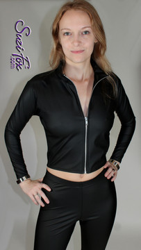 Womens Crop Jacket in Black Matte (no shine) Vinyl/PVC Spandex, custom made by Suzi Fox. Custom made to your measurements! • Choose any fabric on this site. • Available in black, white, red, navy blue, royal blue, turquoise, purple, fuchsia, neon pink, light pink, matte black (no shine), matte white (no shine) stretch vinyl/PVC coated nylon spandex. • Your choice of zippers. • Optional wrist zippers. Made in the U.S.A.