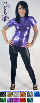 Womens T-Shirt in Purple Metallic Foil coated Spandex, custom made by Suzi Fox. Custom made to your measurements! Choose any fabric on this site! Available in gold, silver, copper, gunmetal, turquoise, Royal blue, red, green, purple, fuchsia, black faux leather/rubber. • Optional wrist zippers if you choose long sleeves. Made in the U.S.A.