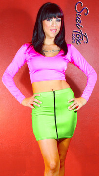 Scoop neck, long sleeve top shown in Neon Pink Shiny Milliskin Tricot Spandex by Suzi Fox. Custom made to your measurements! Available in black, white, red, royal blue, sky blue, turquoise, purple, green, neon green, hunter green, neon pink, neon orange, athletic gold, lemon yellow, steel gray Miilliskin Tricot spandex, and any fabric on this site. • Optional wrist zippers if you choose long sleeves. Made in the U.S.A.