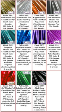 Metallic Foil Coated Four Way Stretch Nylon Spandex.  80% Nylon, 20% Spandex. This is a 4-way stretch fabric that looks like aluminum foil but is stretchy! Black looks like faux leather or rubber. Available in gold, silver, copper, gunmetal, turquoise, Royal blue, red, green, purple, fuchsia, black faux leather/rubber.   Metallic will rub off if rubbed excessively. Foil will separate from spandex backing if worn too tight. Hand wash inside out in cold water, line dry. Iron inside out on low heat. Do not bleach.