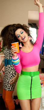 "Front Zipper Skirt shown in Neon Green Shiny Milliskin Tricot Spandex by Suzi Fox. Patterned after Katy Perry's character, Kathy Beth Terry in ""Last Friday Night"" (T.G.I.F.)."