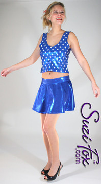 Circle Skirt shown in Royal Blue Metallic Mystique, custom made by Suzi Fox. Custom made to your measurements! Available in black, red, turquoise, green, purple, royal blue, hot pink/fuchsia, silver, copper, gold Metallic Mystique spandex, and any other fabric on this site. Made in the U.S.A.