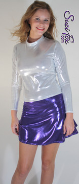 Circle/Skater Skirt shown in Purple Metallic Mystique, custom made by Suzi Fox. Custom made to your measurements! Available in black, red, turquoise, green, purple, royal blue, hot pink/fuchsia, silver, copper, gold Metallic Mystique spandex, and any other fabric on this site. Made in the U.S.A.