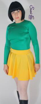 Circle/Skater Skirt shown in Athletic Gold Shiny Milliskin Tricot Spandex by Suzi Fox. Custom made to your measurements! Available in black, white, red, royal blue, sky blue, turquoise, purple, green, neon green, hunter green, neon pink, neon orange, athletic gold, lemon yellow, steel gray Miilliskin Tricot spandex, and any fabric on this site. Made in the U.S.A.