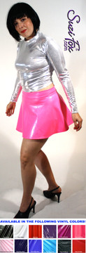 Circle Skirt shown in Gloss Neon Pink Vinyl/PVC Spandex, custom made by Suzi Fox. Custom made to your measurements! Available in black, white, red, navy blue, royal blue, turquoise, purple, Neon Pink, fuchsia, light pink, matte black (no shine), matte white (no shine), black 3D Prism, red 3D Prism, Turquoise 3D Prism, Baby Blue 3D Prism, Hot Pink 3D Prism, and any other fabric on this site. Made in the U.S.A.