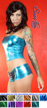 Cheeky Peeker Booty Shorts shown in Turquoise Metallic Foil coated Spandex, custom made by Suzi Fox. Custom made to your measurements! Available in gold, silver, copper, gunmetal, turquoise, Royal blue, red, green, purple, fuchsia, black faux leather/rubber, and any other fabric on this site. Made in the U.S.A.