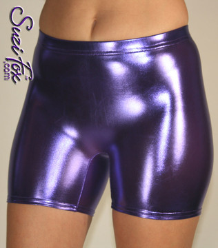 Women's Smooth Front Shorts shown in Purple Metallic foil coated Spandex, custom made by Suzi Fox. Custom made to your measurements! Available in gold, silver, copper, gunmetal, turquoise, Royal blue, red, green, purple, fuchsia, black faux leather/rubber, and any other fabric on this site. • 1 inch no-roll elastic in the waist. • Choose your inseam! • Optional rear patch pockets. • Optional belt loops. Made in the U.S.A.
