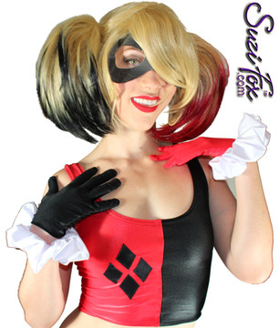 Harley Quinn Gloves shown in Black & Red Wetlook Lycra Spandex with White Wrist Ruffles by Suzi Fox. Give us your bicep and wrist measurements for a perfect fit! Popular fabrics are: red & black vinyl/PVC, red & black metallic foil, red & black wet look lycra Spandex. Made in the U.S.A.
