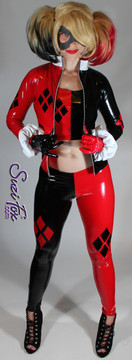 Harley Quinn Leggings shown in Black & Red Gloss vinyl/PVC, custom made by Suzi Fox.  You can order this in almost any fabric on this site.  • Shown with optional jacket, tank top, and gloves. • Custom made to your measurements! • Available in black, red, white, light pink, neon pink, fuchsia, purple, royal blue, navy blue, turquoise, black matte (no shine), white matte (no shine) stretch vinyl coated spandex. • 4 diamonds on each leg • 1 inch elastic at the waist. • Optional 1 or 2-slider crotch zipper. • Optional ankle zippers • Optional rear patch pockets • Optional belt loops • Made in the U.S.A.