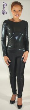 Custom Boat Neck Catsuit by Suzi Fox shown in Black Metallic Mystique, great for cosplay and costumes as Eartha Kitt and Julie Newmar as Catwoman!   Free custom sizing! This fabric is tiny metallic foil dots bonded to 4-way stretch Spandex. You can order this Catsuit in almost any fabric on this site.  • Available in black, red, turquoise, green, purple, royal blue, hot pink/fuchsia, silver, copper, gold. • Optional wrist zippers • Optional ankle zippers • Optional finger loops • Made in the U.S.A.