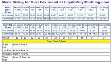 Mens standard sizing chart. For custom mens pants and leggings, go to http://liquidvinylclothing.com/menscustompants
