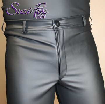 Mens Jean style Pants shown in Black Matte (no shine) Vinyl/PVC Spandex (Faux Leather), custom made by Suzi Fox. Custom made to your measurements! • Front fly zipper, and waistband. • Available in matte black (no shine), matte white (no shine), gloss black, white, red, navy blue, royal blue, turquoise, purple, Neon Pink, fuchsia, light pink, black 3D Prism, red 3D Prism, Turquoise 3D Prism, Baby Blue 3D Prism, Hot Pink 3D Prism Vinyl and any fabric on this site. • Choose your ankle size - tight ankles, jean cut, boot cut, or bellbottom. • Optional ankle zippers. • Optional belt loops. • Optional rear patch pockets. Made in the U.S.A.