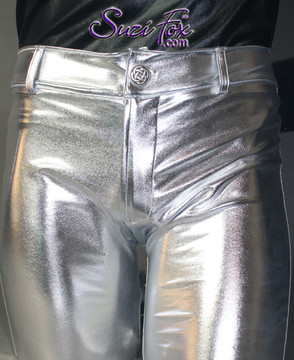 Mens Jean style Pants shown in Silver Metallic Foil coated Spandex, custom made by Suzi Fox. Custom made to your measurements! • Available in gold, silver, copper, gunmetal, turquoise, Royal blue, red, green, purple, fuchsia, black faux leather/rubber Metallic Foil and any fabric on this site. • Fly front zipper and waistband. • Choose your ankle size - tight ankles, jean cut, boot cut, or bellbottom. • Optional ankle zippers. • Optional belt loops. • Optional rear patch pockets. Made in the U.S.A.