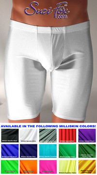 Pouch Front, Bike Length shorts shown in White Milliskin Tricot Spandex, custom made by Suzi Fox. Custom made to your measurements! Choose your pouch size. • Wear them as shorts, swimwear, or underwear. • Available in black, white, red, royal blue, sky blue, turquoise, purple, green, neon green, hunter green, neon pink, neon orange, athletic gold, lemon yellow, steel gray Miilliskin Tricot spandex and any fabric on this site. • 1 inch no-roll elastic at the waist. • Optional belt loops. • Optional rear patch pockets. • Your choice of inseam. 9 inch inseam shown (bike length). • Made in the U.S.A.