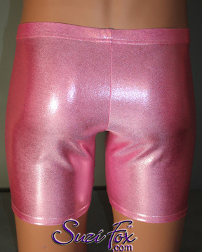 Pouch Front, Bike Length shorts shown in Baby Pink Metallic Mystique Spandex, custom made by Suzi Fox. Custom made to your measurements! Choose your pouch size. • Wear them as shorts, swimwear, or underwear. • Available in black, red, turquoise, green, purple, royal blue, hot pink/fuchsia, silver, copper, gold Metallic Mystique spandex and any fabric on this site. • 1 inch no-roll elastic at the waist. • Optional belt loops. • Optional rear patch pockets. • Your choice of inseam. 9 inch inseam shown (bike length). • Made in the U.S.A.