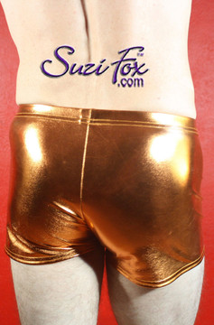 Mens Boxcut shorts shown in Copper Metallic Foil coated Spandex, custom made by Suzi Fox. Custom made to your measurements! • Available in gold, silver, copper, gunmetal, turquoise, Royal blue, red, green, purple, fuchsia, black faux leather/rubber Metallic Foil and any fabric on this site. • 1 inch no-roll elastic at the waist. • Optional belt loops. • Optional rear patch pockets. • Your choice of inseam and rise. 2 inch inseam is standard. • Made in the U.S.A.