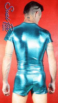 Mens Boxcut shorts shown in Turquoise Metallic Foil coated Spandex, custom made by Suzi Fox. Custom made to your measurements! • Available in gold, silver, copper, gunmetal, turquoise, Royal blue, red, green, purple, fuchsia, black faux leather/rubber Metallic Foil and any fabric on this site. • 1 inch no-roll elastic at the waist. • Optional belt loops. • Optional rear patch pockets. • Your choice of inseam and rise. 2 inch inseam is standard. • Made in the U.S.A.