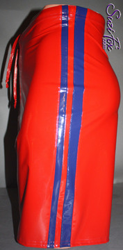 Mens Basketball or Board shorts shown in Red with Royal Blue Stripes Vinyl/PVC Spandex, custom made by Suzi Fox. • Available in black, white, red, navy blue, royal blue, turquoise, purple, Neon Pink, fuchsia, light pink, matte black (no shine), matte white (no shine), black 3D Prism, red 3D Prism, Turquoise 3D Prism, Baby Blue 3D Prism, Hot Pink 3D Prism, and any fabric on this site. • 1 inch no-roll elastic at the waist. • Optional belt loops. • Optional rear patch pockets. • Optional drawstring. • Made in the U.S.A.