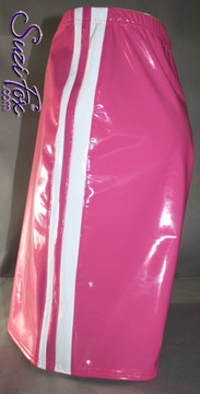 Mens Basketball or Board shorts shown in Fuchsia with White Stripes Vinyl/PVC Spandex, custom made by Suzi Fox. • Available in black, white, red, navy blue, royal blue, turquoise, purple, Neon Pink, fuchsia, light pink, matte black (no shine), matte white (no shine), black 3D Prism, red 3D Prism, Turquoise 3D Prism, Baby Blue 3D Prism, Hot Pink 3D Prism, and any fabric on this site. • 1 inch no-roll elastic at the waist. • Optional belt loops. • Optional rear patch pockets. • Optional drawstring. • Made in the U.S.A.