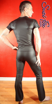 Mens Tee Shirt shown in Black Matte (no shine) Vinyl/PVC Spandex, custom made by Suzi Fox. • Available in matte black (no shine), matte white (no shine), gloss black, white, red, navy blue, royal blue, turquoise, purple, Neon Pink, fuchsia, light pink, black 3D Prism, red 3D Prism, Turquoise 3D Prism, Baby Blue 3D Prism, Hot Pink 3D Prism, and any fabric on this site. • Choose your sleeve length. • Give us your measurements for a custom fit! • Standard length is 24 inches (61 cm) for sizes XXXS-Medium; 27 inches (68.6 cm) for sizes Large and up. • Optional add extra length to the shirt. • Made in the U.S.A.