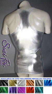 Mens Racerback Muscle Tee Shirt shown in Silver Metallic Foil Spandex, custom made by Suzi Fox. • Available in gold, silver, copper, gunmetal, turquoise, Royal blue, red, green, purple, fuchsia, black faux leather/rubber Metallic Foil, and any fabric on this site. • Give us your measurements for a custom fit! • Standard length is 24 inches (61 cm) for sizes XXXS-Medium; 27 inches (68.6 cm) for sizes Large and up. • Optional add extra length to the shirt. • Made in the U.S.A.