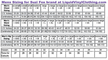 Mens Standard Catsuit Sizing Chart
