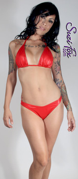 Adjustable Triangle String Bikini Top shown in Red Wet Look lycra Spandex, custom made by Suzi Fox. • Adjustable! Make it thinner or wider! • Available in black, white, red, turquoise, navy blue, royal blue, hot pink, lime green, green, yellow, steel gray, neon orange Wet Look, and any fabric on this site. • Bottom sold separately. (B11 full coverage bikini bottom shown) • Made in the U.S.A.