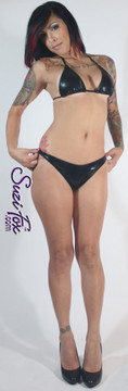 Adjustable Triangle String Bikini Top shown in Black Faux Leather Metallic Spandex, custom made by Suzi Fox • Adjustable! Make it thinner or wider! • Available in gold, silver, copper, gunmetal, turquoise, Royal blue, red, green, purple, fuchsia, black faux leather/rubber Metallic Foil, and any fabric on this site. • Bottom sold separately. (B8 Brazilian Bikini Bottom shown) • Made in the U.S.A.