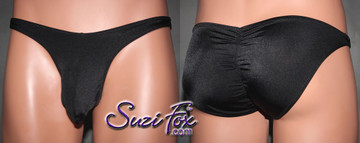 Mens Pouch Front, Wide Strap, Full Gathered Rear Bikini - shown in Black Milliskin Tricot Spandex, custom made by Suzi Fox. • Gathered rear accentuates the butt! • Available in black, white, red, royal blue, sky blue, turquoise, purple, green, neon green, hunter green, neon pink, neon orange, athletic gold, lemon yellow, steel gray Miilliskin Tricot spandex or any fabric on this site. • Standard front height is 8 inches (20.3 cm). • Available in 3, 4, 5, 6, 7, 8, 9, and 10 inch front heights. • Wear it as swimwear OR underwear! • Made in the U.S.A.
