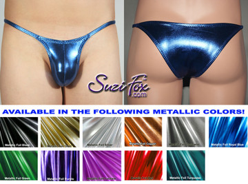 Men's Contoured Pouch Front, Skinny Strap, Tanga Bikini - shown in Royal Blue Metallic Foil Spandex, custom made by Suzi Fox. • Available in gold, silver, copper, gunmetal, turquoise, Royal blue, red, green, purple, fuchsia, black faux leather/rubber Metallic Foil or any fabric on this site. • Standard front height is 5 inches (12.7 cm). • Available in 3, 4, 5, 6, 7, 8, 9, and 10 inch front heights. • Choose your rear style and size! • Choose your pouch size! • Wear it as swimwear or underwear! Made in the U.S.A.