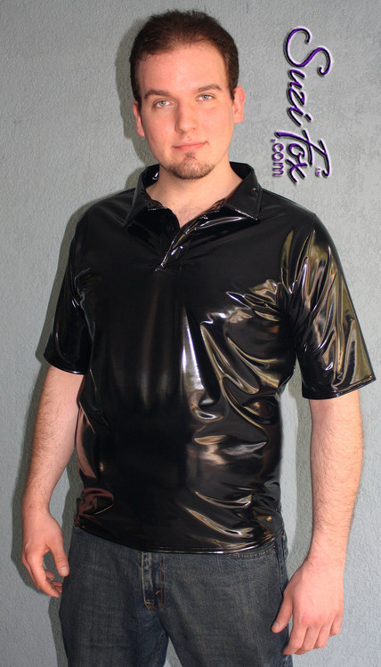 Mens Polo Shirt shown in Gloss Black Vinyl/PVC Spandex, custom made by Suzi Fox.