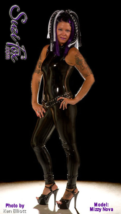 "Sleeveless Catsuit by Suzi Fox shown in Gloss Black Vinyl/PVC Spandex. • Choose any fabric on this site, including vinyl/PVC, metallic foil, metallic mystique, wetlook lycra Spandex, Milliskin Tricot Spandex. • Optional Custom Sizing. • Plus size available. • Optional 1 or 2-slider crotch zipper. • Optional ""Selene"" from Underworld TS zipper. • Optional ankle zippers. • Worldwide shipping.  • Made in the U.S.A."