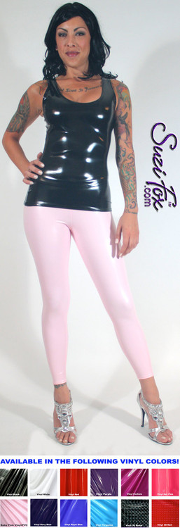 Womens Leggings shown in Light Pink Gloss vinyl/PVC, custom made by Suzi Fox.  You can order this in almost any fabric on this site.  • Custom made to your measurements! • Available in black, red, white, light pink, neon pink, fuchsia, purple, royal blue, navy blue, turquoise, black matte (no shine), white matte (no shine) stretch vinyl coated spandex. • 1 inch elastic at the waist. • Optional 1 or 2-slider crotch zipper. • Optional ankle zippers • Optional rear patch pockets • Optional belt loops • Made in the U.S.A.