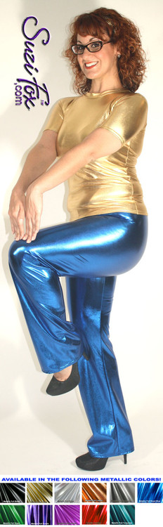 Womens Boot Cut Pants shown in Royal Blue Metallic Foil Spandex, custom made by Suzi Fox. You can order this in almost any fabric on this site.  • Custom made to your measurements! • Available in gold, silver, copper, royal blue, purple, turquoise, red, green, fuchsia, gun metal, black faux leather/rubber coated spandex. This is a 4-way stretch fabric with a brilliant shine. • 1 inch elastic at the waist. • Optional 1 or 2-slider crotch zipper. • Optional ankle zippers • Optional rear patch pockets • Optional belt loops • Made in the U.S.A.